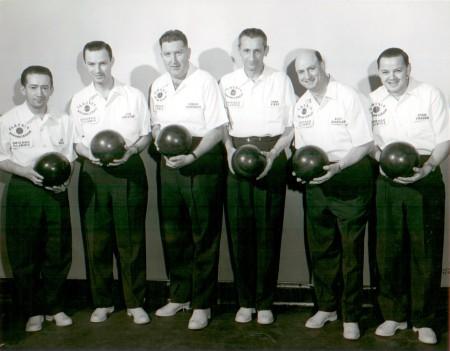 (L-R) Joe Bolek, Joe Kristof (capt), Connie Schwoegler, Fred Fikes, Rudy Habetler, Stan Thaden