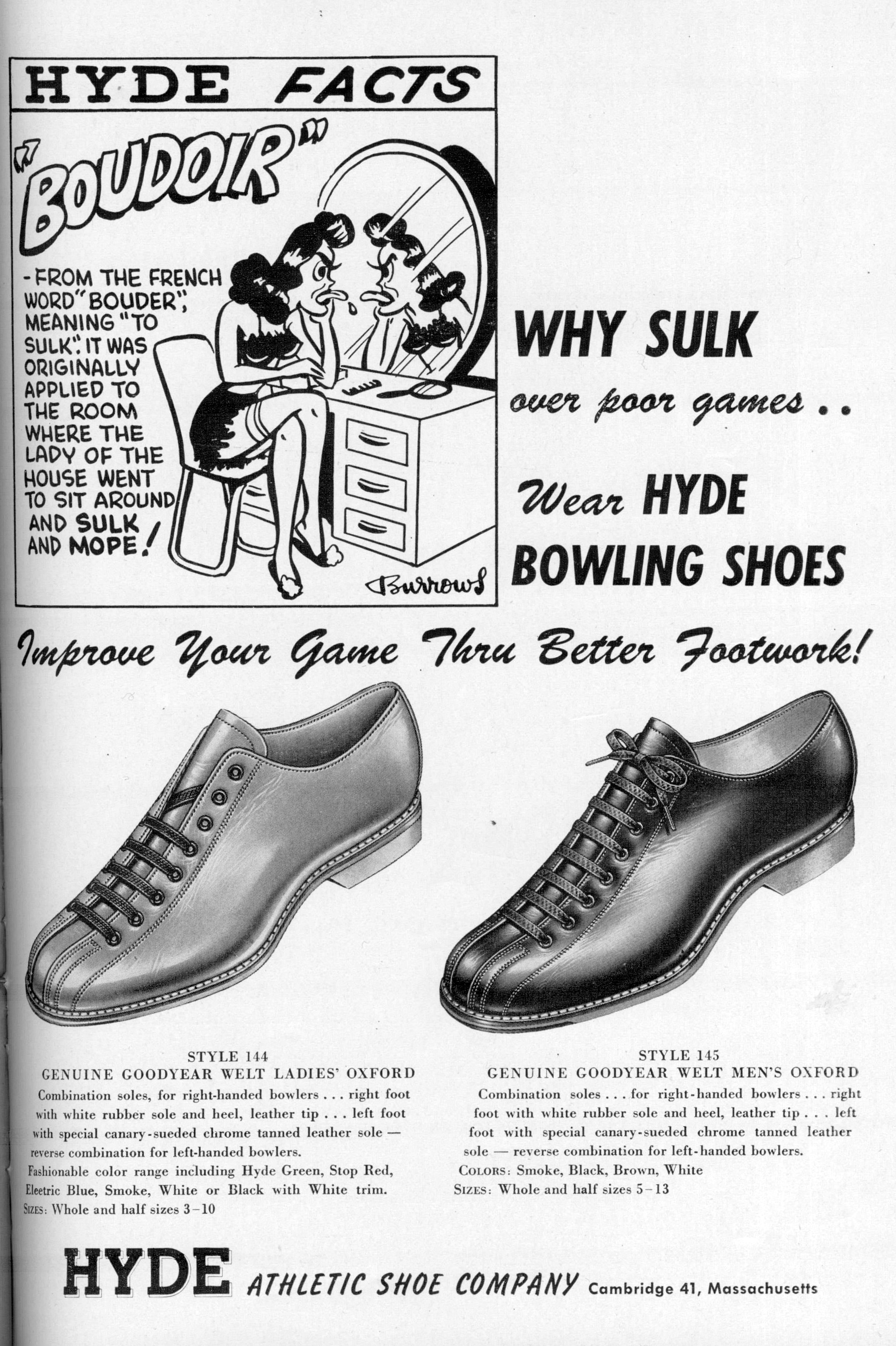 Hyde Bowling Shoes (1951) | Dr. Jake's Bowling History Blog