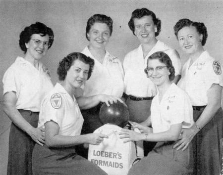 FRONT--June Kristof, Beverly Bowman  REAR--Sarah Alongi, Patti Hoffmann, Evie Ross, Olga Gloor