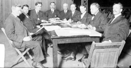 L-R--Judge Howard (President), Fred Gosewisch, A.L. Langtry (Secretary), Robert H. Bryson, E.J. Ryan (Vice President), Marshall Levey, M.A. Phillips, Louis Wehner, Frank L. Pasdeloup (Treasurer)