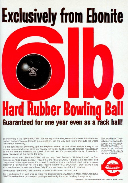 Ebonite Six-Shooter Bowling Ball (1966)