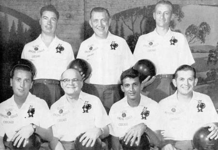 FRONT--Chuck Wagner, Joe Wilman, Frank Celebre, Joe Norris  REAR--Don Ellis, Art Butler, Fred Fikes
