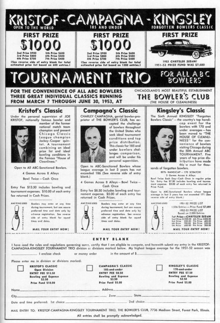 The Bowler's Club Tournament Trio (1953)