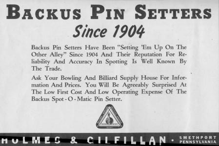 Backus Pin Setters (1946)