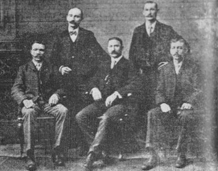 (L-R)--John Koster, Bill Rothermel, Will Amann, Pete Schultz, Otto Foege