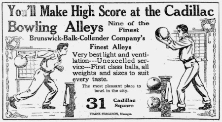 Cadillac Bowling Alley advert; The Detroit Free Press, October 4, 1914