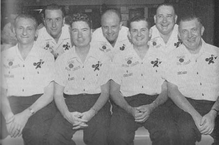 (L-R)--Fred Fikes, Chuck Wagner, Don Ellis, John Kennedy, Joe Norris, Eddie Kawolics, Art Butler