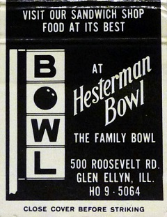 Hesterman Bowl matchbook