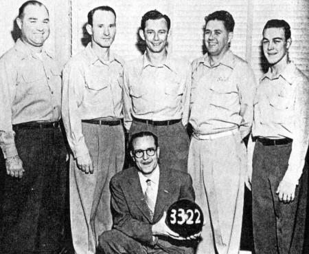 FRONT--Charles Bragg (sponsor)  REAR--Jack Quinn, Paul Dunivan, Tommy Tobin, Ralph Smith, Glenn Allison