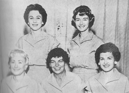 FRONT--Wilma Anderson, Merle Matthews, Betty Phillips  REAR--Mary Hoyt, Robbie Frey