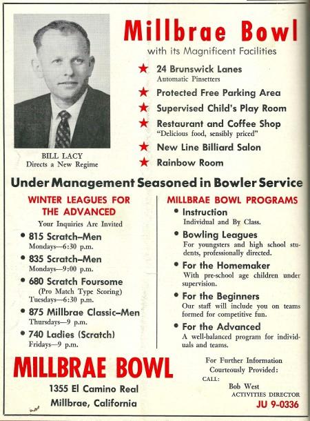 Millbrae Bowl ad (1963)