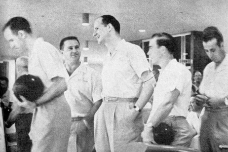 (L-R)--Harry Smith, Dick Hoover, Billy Welu, Glenn Allison, Al Savas