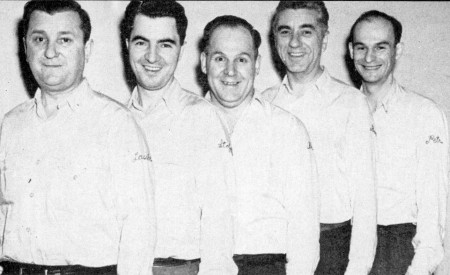 (L-R)--Charley Lausche, Al Stofscho, Joe Breit, Joe Bodis, Johnny Petro