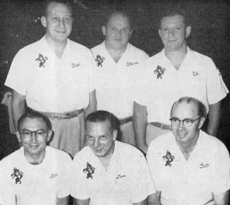FRONT--Lee Jouglard, Lou Sielaff, George Young  REAR--Fred Bujack, Therm Gibson, Ed Lubanski