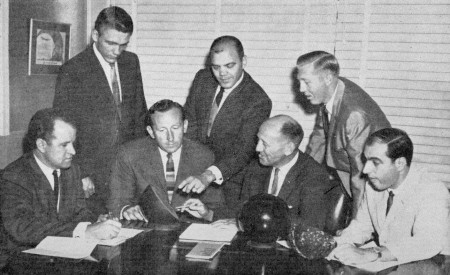 FRONT--Harry Smith, Don Carter, George Twickler (District Manager), Carmen Salvino  REAR--Billy Hardwick, Ray Bluth, Bill Allen