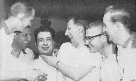 (L-R)--Hank Gniewek, Monte Onzca, Al Parigian, Jack Born, John Nickell, Bob Brayman