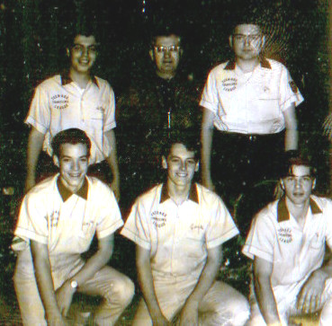 FRONT--Steve Stec, Jack Herzog, Ed Schwartz  REAR--Steve Revethis, Ziggy Blazyk (coach), Jake Schmidt