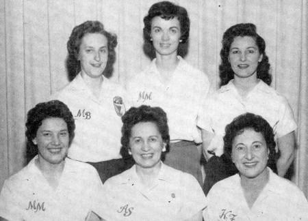 FRONT--Mary Lou Murney, Ann Sherman, Kay Freitag  REAR--Mae Bolt, Joan Karge, Bobbie Shaler