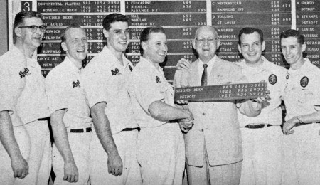 L-R---Bob Crawford, Bob Strampe, Tom Harnisch, Tony Lindemann, Carl Peters (manager), Jimmy Schroeder, George Howard