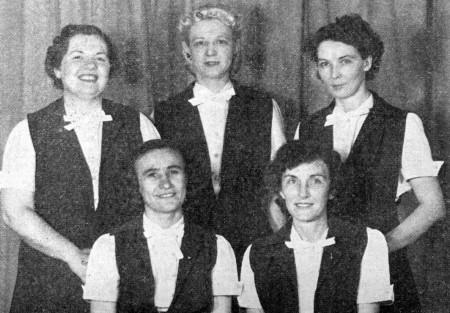 FRONT--Angela Mica, Ruth Moehlenkamp  REAR--Ann Raber, Bernette Repking, Virginia Penn