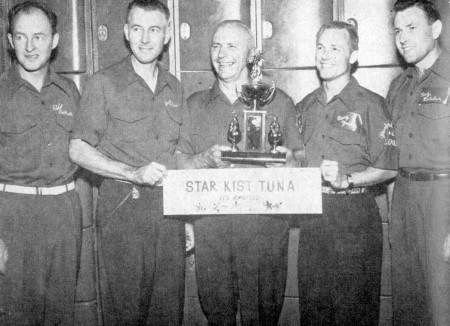 (L-R)--Eddie Hartnett, Roy Bade, George Cojun, Benny Young, Foy Belcher