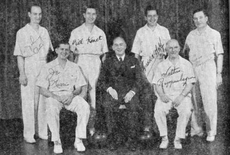 FRONT--Joe Norris, Carl Peters (manager), Walter Reppenhagen REAR--John Petro, Bill Kenet, Fred Wolf, Cass Grygier