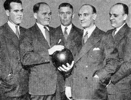 (L-R)--Bill Hargadon, Joe Wilman, Joe Traubenik, George Theel, Johnny Small
