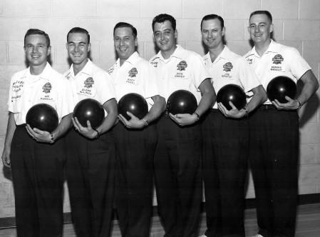 (L-R)--Bob Pinkalla, Glenn Allison, Rudy Pugel, Dick O'Brien, Joe Kristof, Dennis Wright