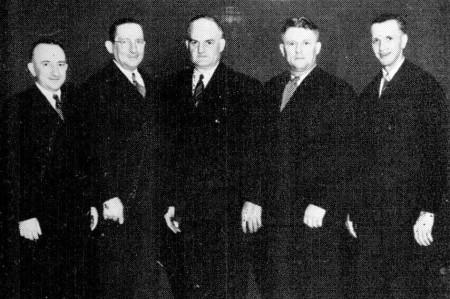 (L-R)---John Erben, Jim Frana, George Vogel, Stan Kosobucki, Jim Veverka